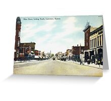 1908 Lawrence, KS, Mass Street looking South delightful image from antique postcard. Greeting Card