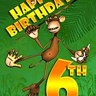 Birthday Card for 6 year old monkey swinging in the trees by Moonlake