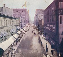 Petticoat Lane 1907 KCMO image from antique postcard by Steve Sutton