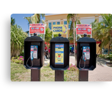 Phone boxes in Antigua Canvas Print