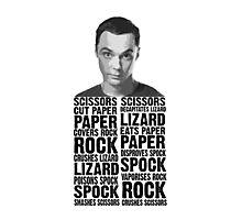Sheldon, Rock Scissors Paper Lizard Spock Photographic Print