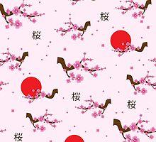 Spring seamless pattern blooming sakura by CrisPersonally