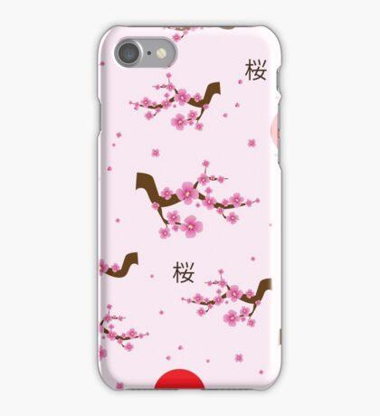 Spring seamless pattern blooming sakura iPhone Case/Skin
