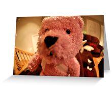 Funny Teddy Pink Bear Greeting Card