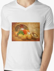 Cascading Vegetables Mens V-Neck T-Shirt
