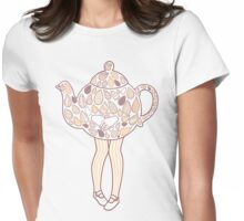 Teapot Girl - purple Womens Fitted T-Shirt