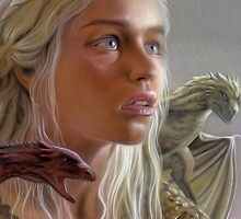 Game of Thrones - Daenerys Portrait With Dragons by TylerMellark