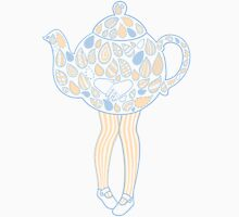 Teapot Girl - blue Womens Fitted T-Shirt