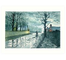 Church Lane by Moonlight Art Print