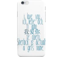 how to say i love you (johnlock) iPhone Case/Skin