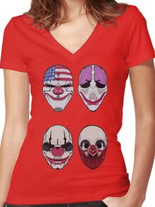 Payday 2 Masks Vector Women's Fitted V-Neck T-Shirt