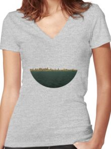 Skyless Composition 2 | Two Women's Fitted V-Neck T-Shirt