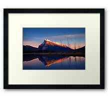 Mount Rundle Sunset, Vermillion lakes, Banff National Park, BC,  Canada Framed Print