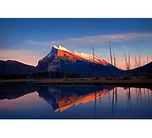Mount Rundle Sunset, Vermillion lakes, Banff National Park, BC,  Canada Photographic Print