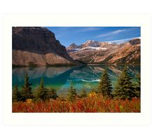 Bow Lake reflection in Fall, Icefields Parkway National Park, Alberta, Canada Art Print