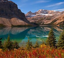 Bow Lake reflection in Fall, Icefields Parkway National Park, Alberta, Canada by photosecosse /barbara jones