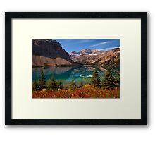 Bow Lake reflection in Fall, Icefields Parkway National Park, Alberta, Canada Framed Print
