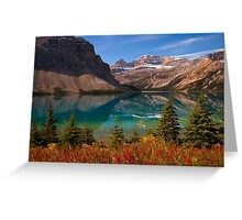 Bow Lake reflection in Fall, Icefields Parkway National Park, Alberta, Canada Greeting Card