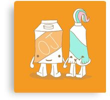 The Cutest Couple: Orange Juice & Toothpaste Canvas Print