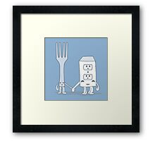 The Cutest Couple: Fork & Electrical Outlet Framed Print
