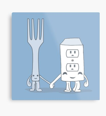 The Cutest Couple: Fork & Electrical Outlet Metal Print