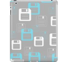 Floppy Disk Forever pattern in gray & blue iPad Case/Skin