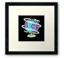 Neon Laser Globe Framed Print