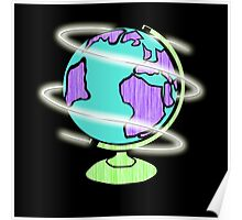 Neon Laser Globe Poster