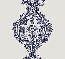 Navy Doodle on Grey by micklyn