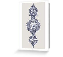 Navy Doodle on Grey Greeting Card