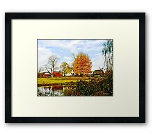 Farm by Pond in Autumn Framed Print