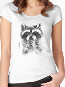 Surprised raccoon Women's Fitted Scoop T-Shirt