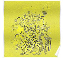 A yellow cat with flowers  Poster