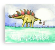 Stegosaurus Flowers Canvas Print