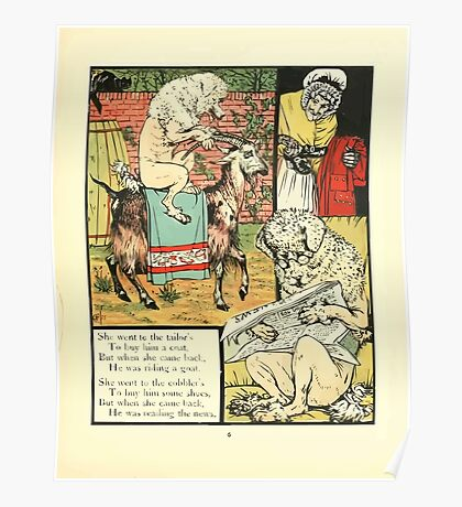 The Mother Hubbard Picture Book by Walter Crane - Plate 21 - Went to the Tailors, Cobblers Poster