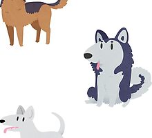 Dogs! German Shepherd, Husky & Bull Terrier by Claire Stamper