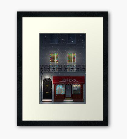 Sherlock Speedy's Cafe christmas Framed Print