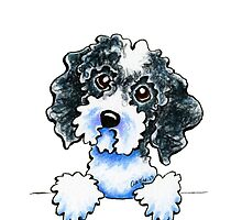 Black Parti Cockapoo Lined Up by offleashart