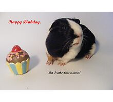 Happy Birthday. But I rather have a carrot!!!!!!!!! Photographic Print