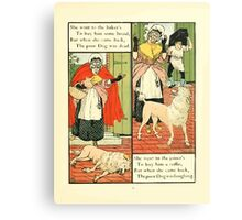 The Mother Hubbard Picture Book by Walter Crane - Plate 13 - Went to the Bakers, Joiners Canvas Print