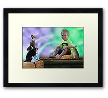 Little boy and his darling friends Framed Print