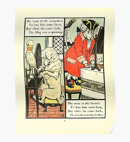 The Mother Hubbard Picture Book by Walter Crane - Plate 24 - Went to the Seamstress, Sempstress, Hosiers Poster