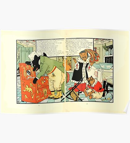 The Mother Hubbard Picture Book by Walter Crane - Plate 38 - Three Bears - Broken Chair Poster