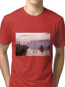 Misty Morning on the Lake Tri-blend T-Shirt