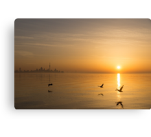 Wings at Sunrise - Toronto Skyline With Flying Geese Canvas Print