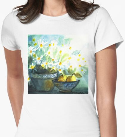 DAISIES WITH PEARS IN PAINTED POTTERY - STILL LIFE  Womens Fitted T-Shirt