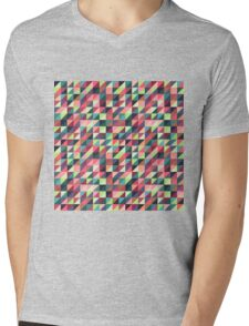 Colorful Triangle Pattern Mens V-Neck T-Shirt