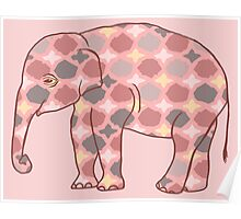 Pink, Gray and Yellow Patterned Elephant Silhouette Poster