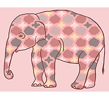Pink, Gray and Yellow Patterned Elephant Silhouette Photographic Print
