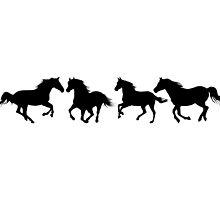 Galloping Horses Design #4 in Black by jnmvinylstudio